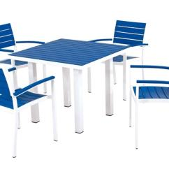 Blue And White Dining Chairs Director Chair Covers Australia Outdoor Patio 5 Piece Pacific Table