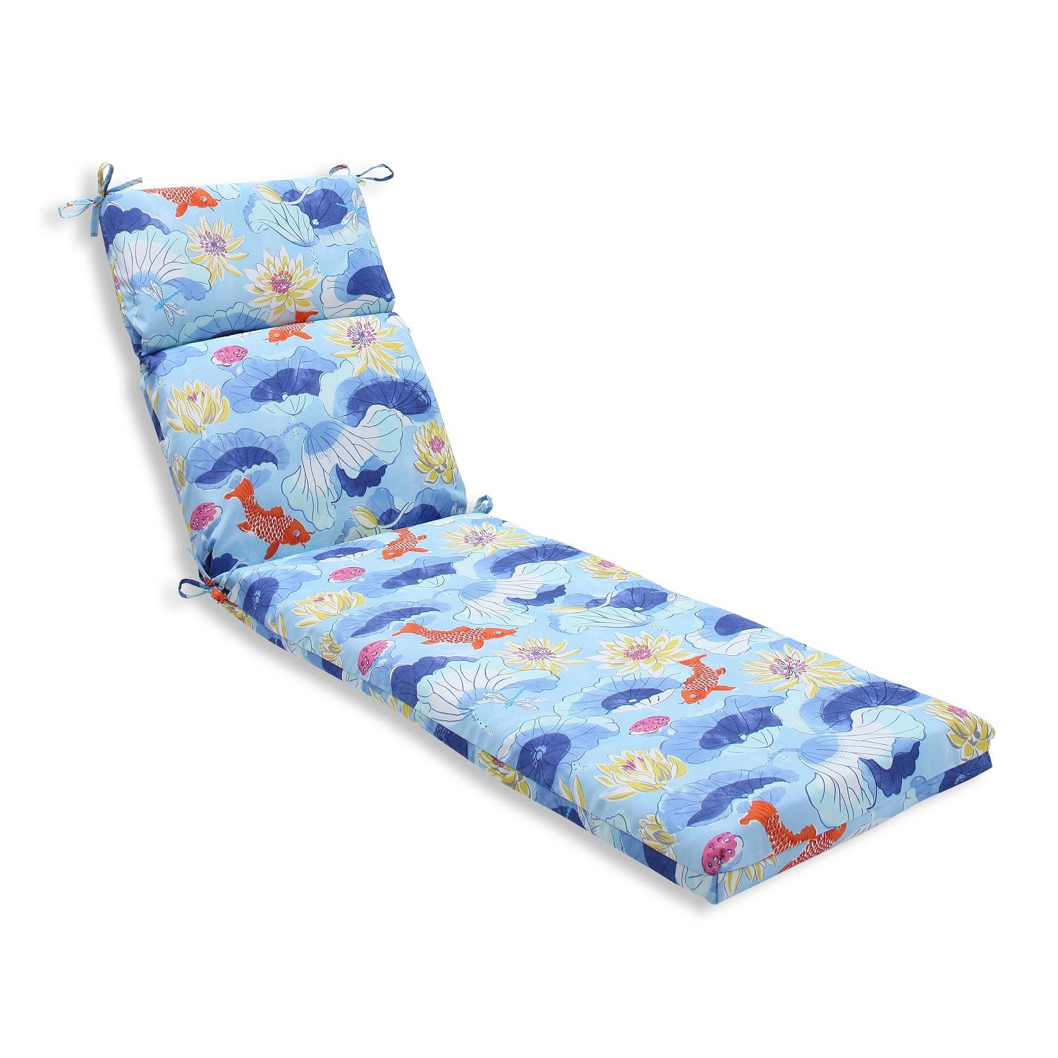 blue lounge chair cushions snap on rolling 72 5 quot and orange under the sea outdoor patio chaise
