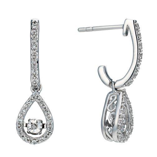 Sterling silver 10 point diamond pear drop earrings