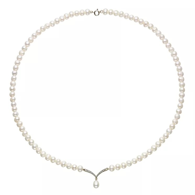 9ct Yellow Gold Freshwater Pearl & Cubic Zircona Necklace