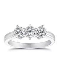 18ct white gold one carat diamond three stone ring ...