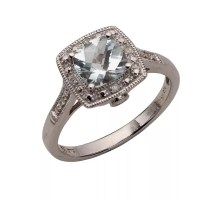 9ct White Gold Diamond and Aquamarine Vintage Ring | H.Samuel