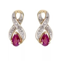 9ct Yellow Gold Rhodium Plated Diamond and Ruby Earrings ...