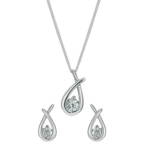 Sterling silver mini love knot pendant and earrings set