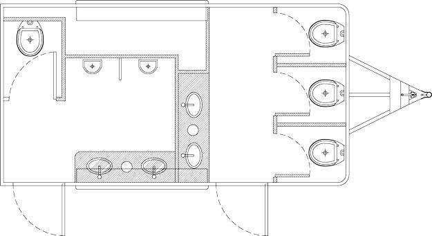 106A LuxuryLav Wide Body Ranier Multi Stall Restroom
