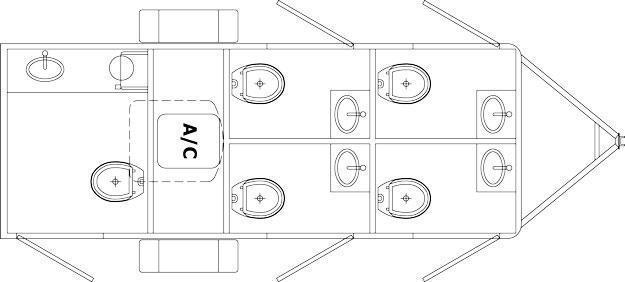 105 LuxuryLav Narrow Body-V Mini Restroom Trailer