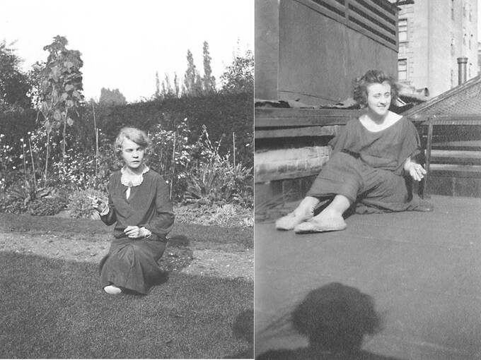 Two black and white photographs of young women are joined together. On the left a young woman kneels on the grass in a garden. She holds a cigarette out in one hand. To the right, a young woman sits with her legs out in front of her on a flat roof area of a tall building, in a city landscape.