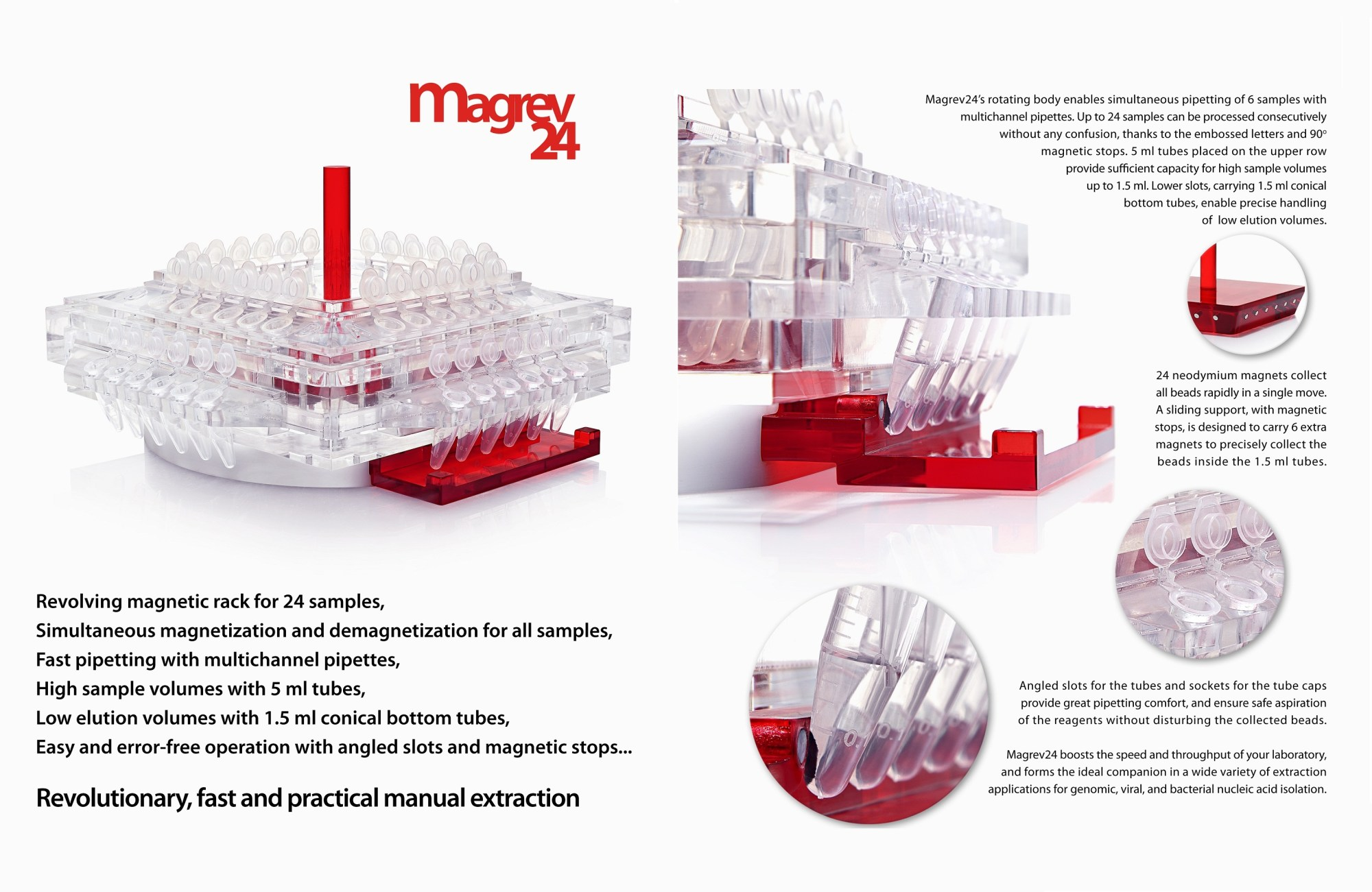 hight resolution of anatolia magrev 24 manual magnetic bead nucleic acid extraction stand
