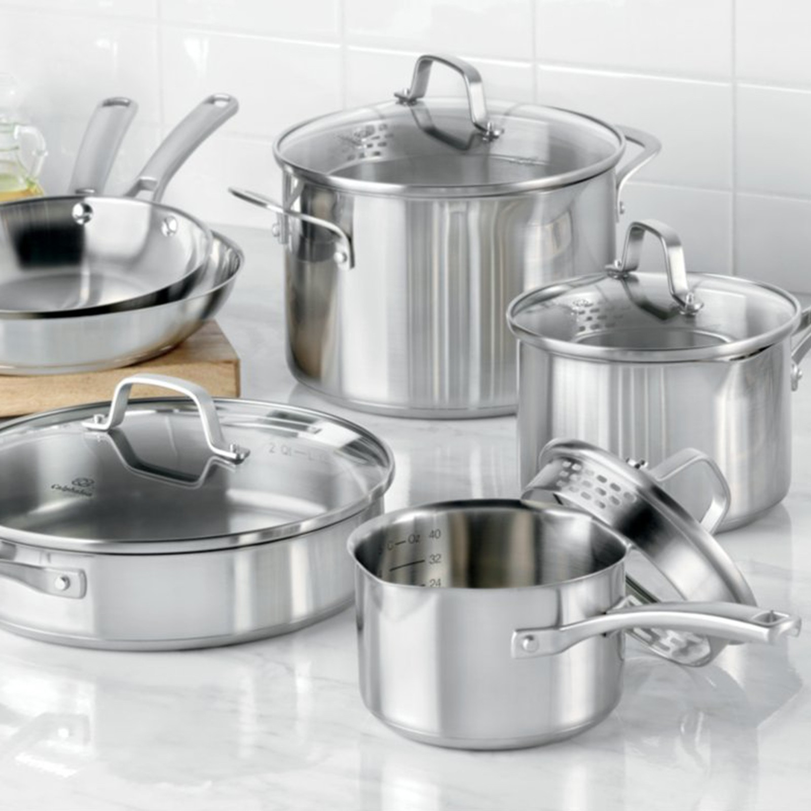 calphalon kitchen essentials stainless steel food storage classic 10 piece cookware set by zola