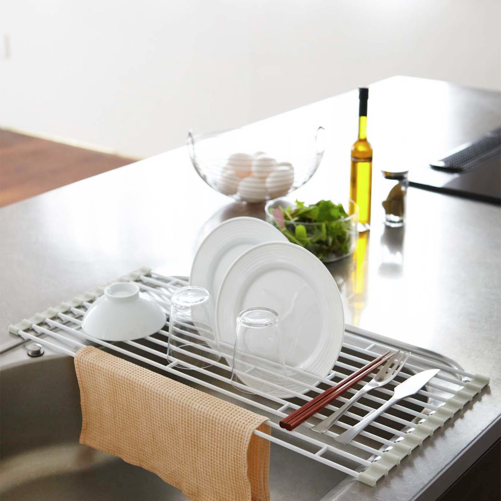 kitchen essentials from calphalon island hood plate folding sink drainer rack by yamazaki home | zola
