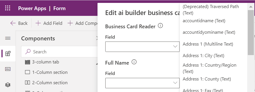 Business card in a contact form