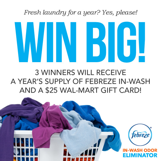 Year's Supply of Febreze In-Wash and $25 Wal-Mart Gift Card