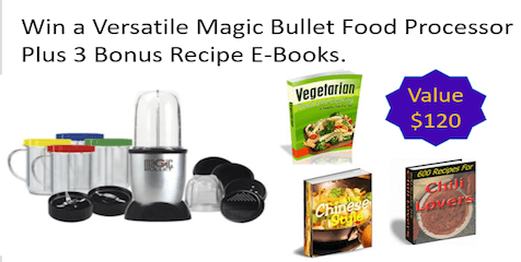 Win a Versatile Magic Bullet Food Processor Plus 3 Bonus Recipe E-books