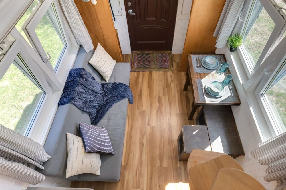 medium resolution of in the living room of a tiny house