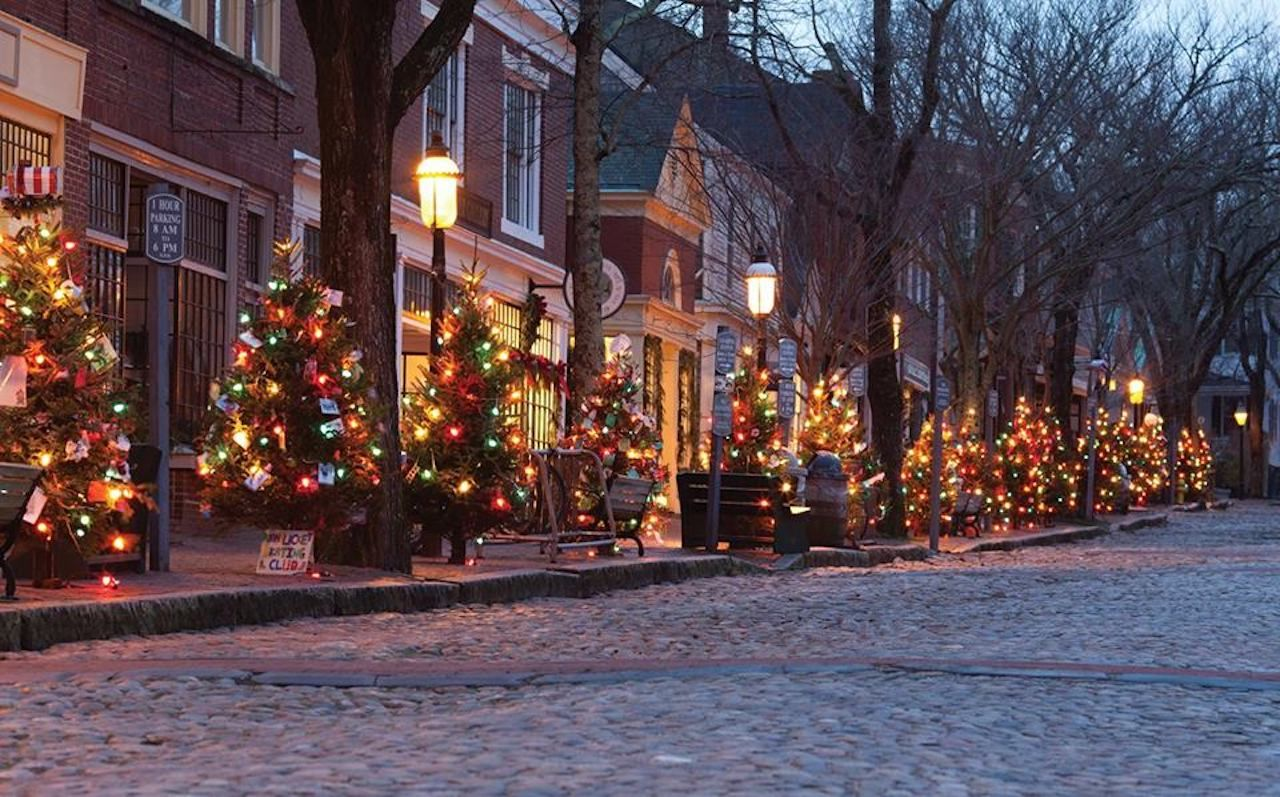 Cities And Winter Christmas Trees