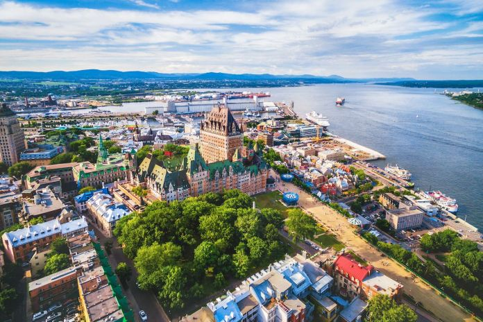 Aerial view of Chateau Frontenac hotel and Old Port in Quebec City, Canada
