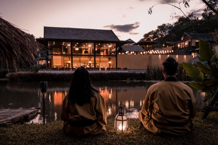 Couple at a Japanese onsen