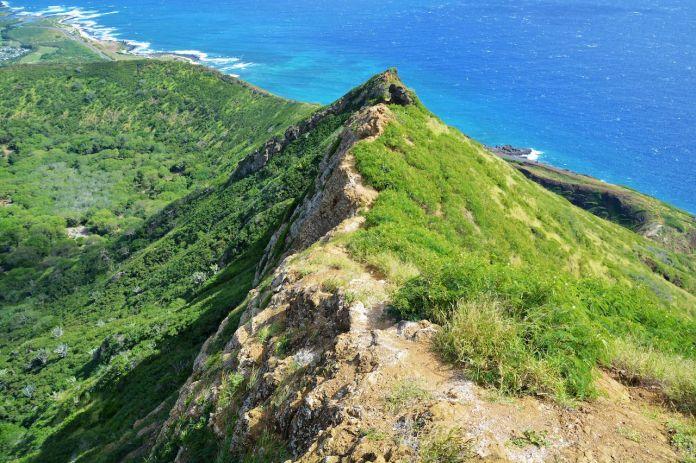 Koko Head hike, tropical volcanic landscape, crater ridge and ocean, Oahu, Hawaii