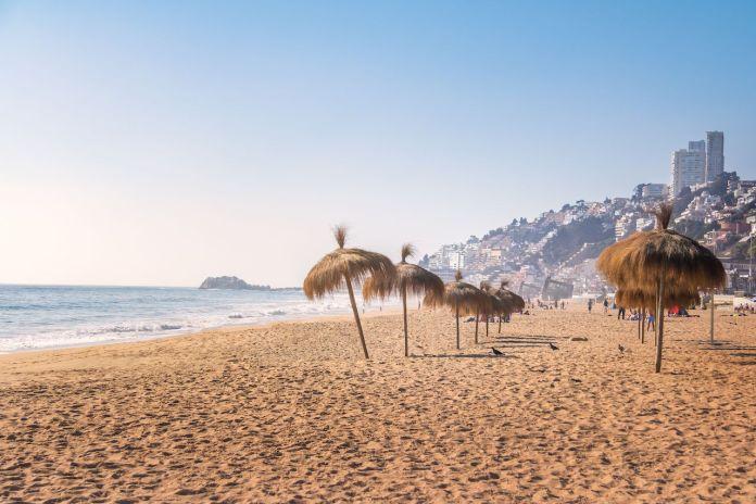 Umbrellas at Renaca Beach, Vina del Mar, Chile