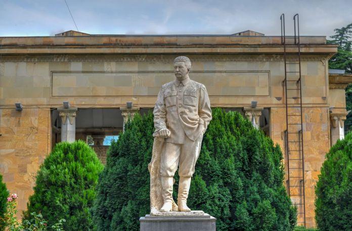 Statue of Joseph Stalin outside his house and museum In Gori, Georgia