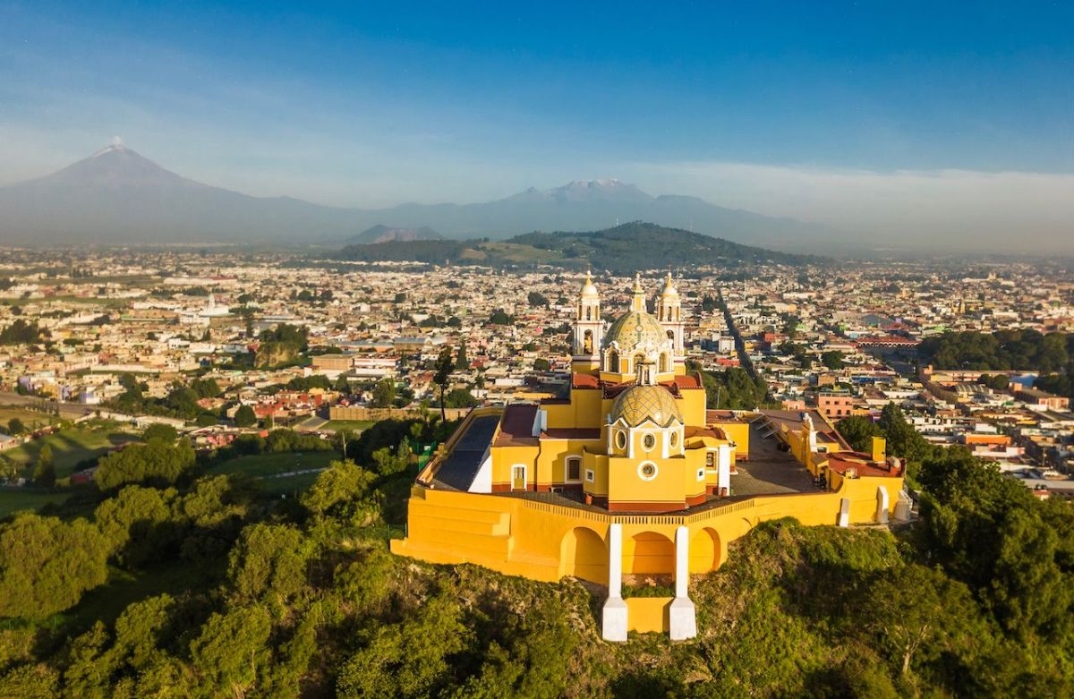 aerial view of Puebla Mexico and its church