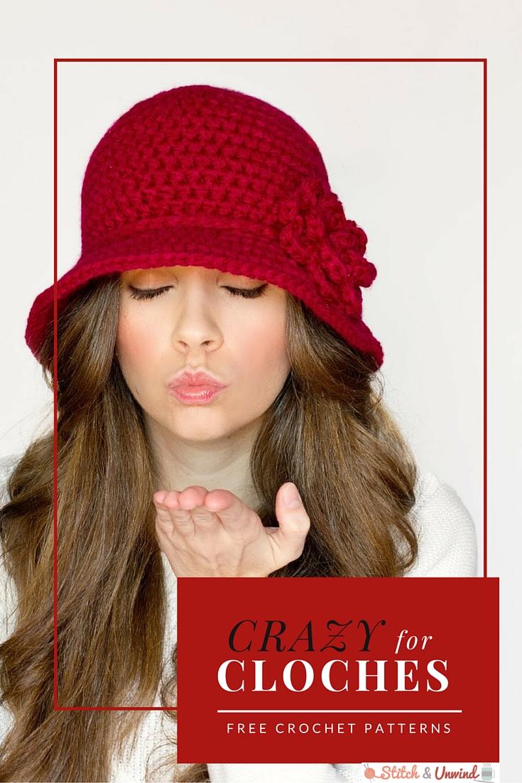 Free Cloche Hat Pattern : cloche, pattern, Crazy, Cloches:, Crochet, Patterns, Stitch, Unwind