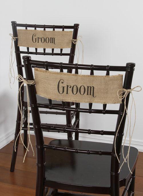 folding chair sashes ice fishing groom burlap details