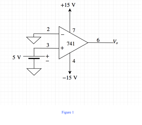 small resolution of draw the diagram of a 741 op amp operated from 15 v supplies with vi 0v and vi 5v include terminal pin connections