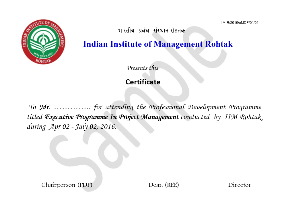 Executive Program in project management by IIM Rohtak