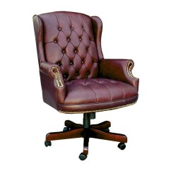 Wingback Office Desk Chair Old High Repurposed With Burgundy Caressoft Upholstery
