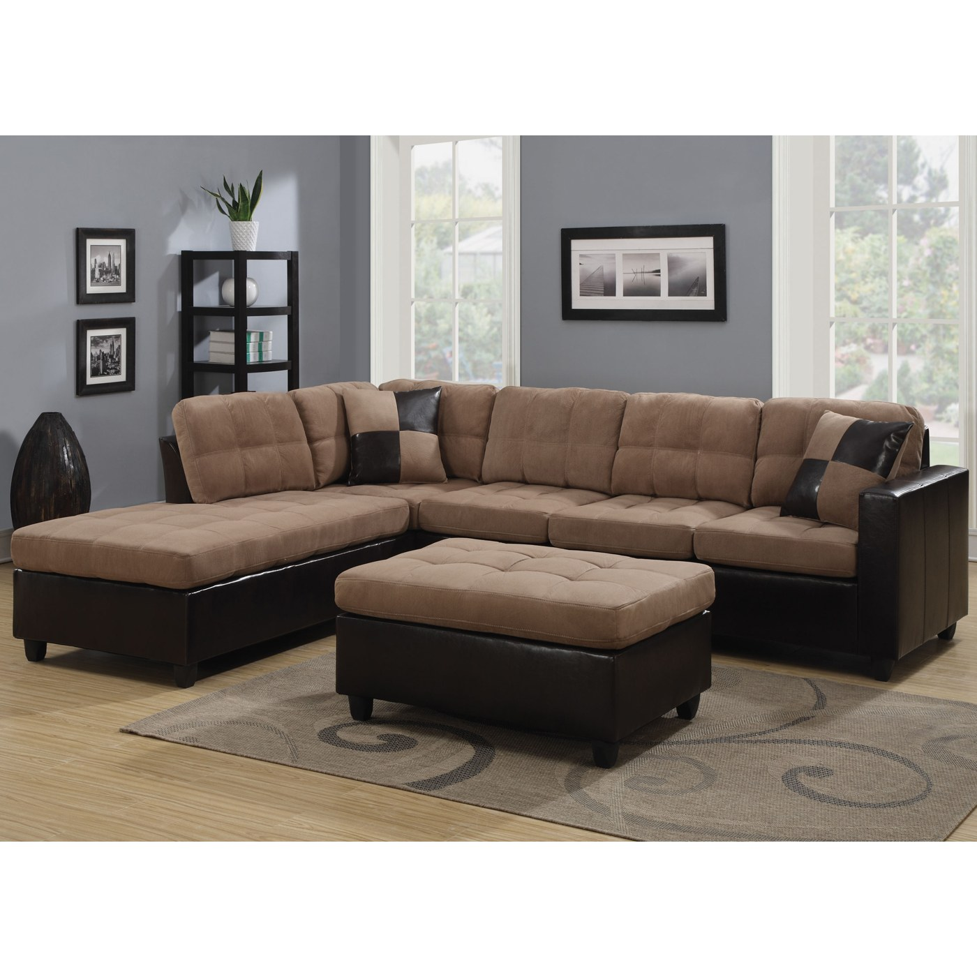 mallory microfiber sectional with tan microfiber dark brown leather like vinyl upholstery by coaster fine furniture