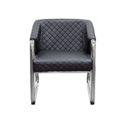 Black Sofa With Accent Chairs Cheap Corner Beds Uk Retro Chair Diamond Tufted Quilt And Chrome