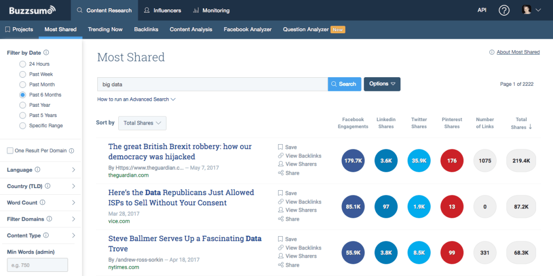 BuzzSumo screen shot