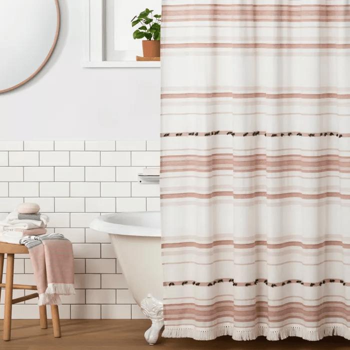 pom pom fabric shower curtain