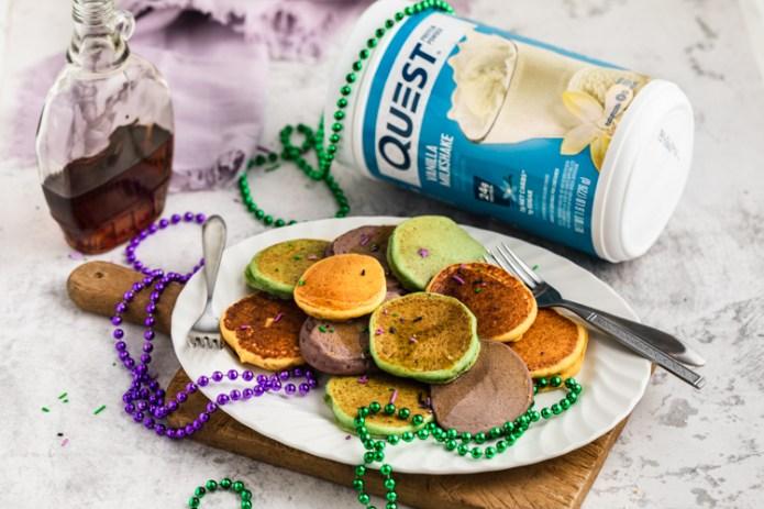Transform Fat Tuesday to Protein Tuesday with These Mardi Gras Pancakes