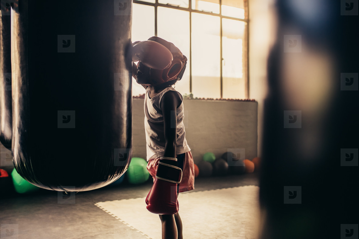 boxing kid standing in