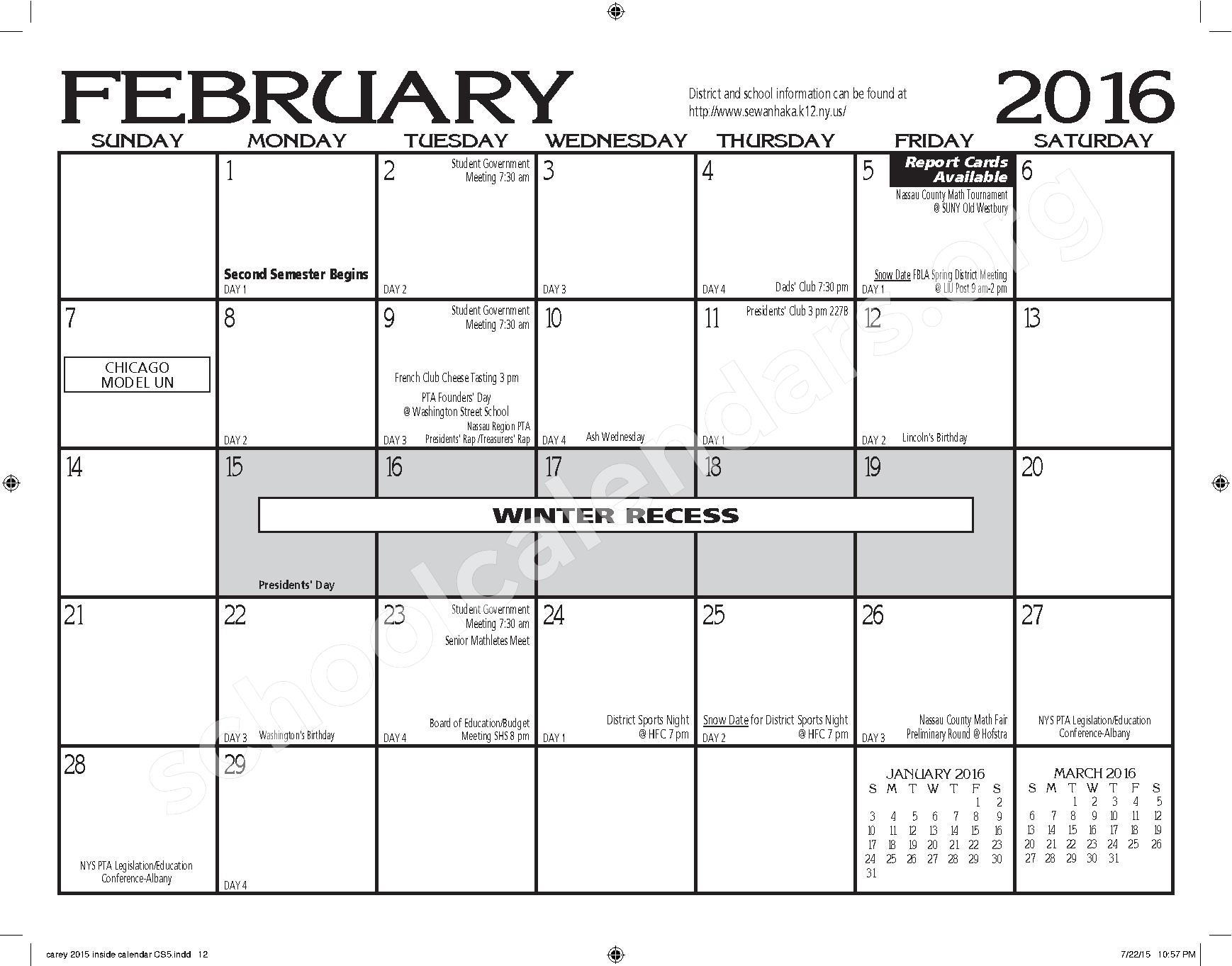 2015 - 2016 H. Frank Carey HS Calendar