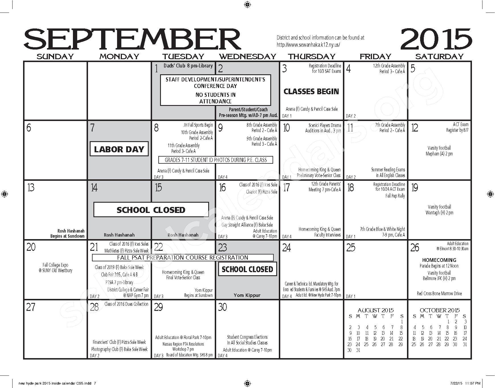 New Hyde Park Memorial High School Calendars