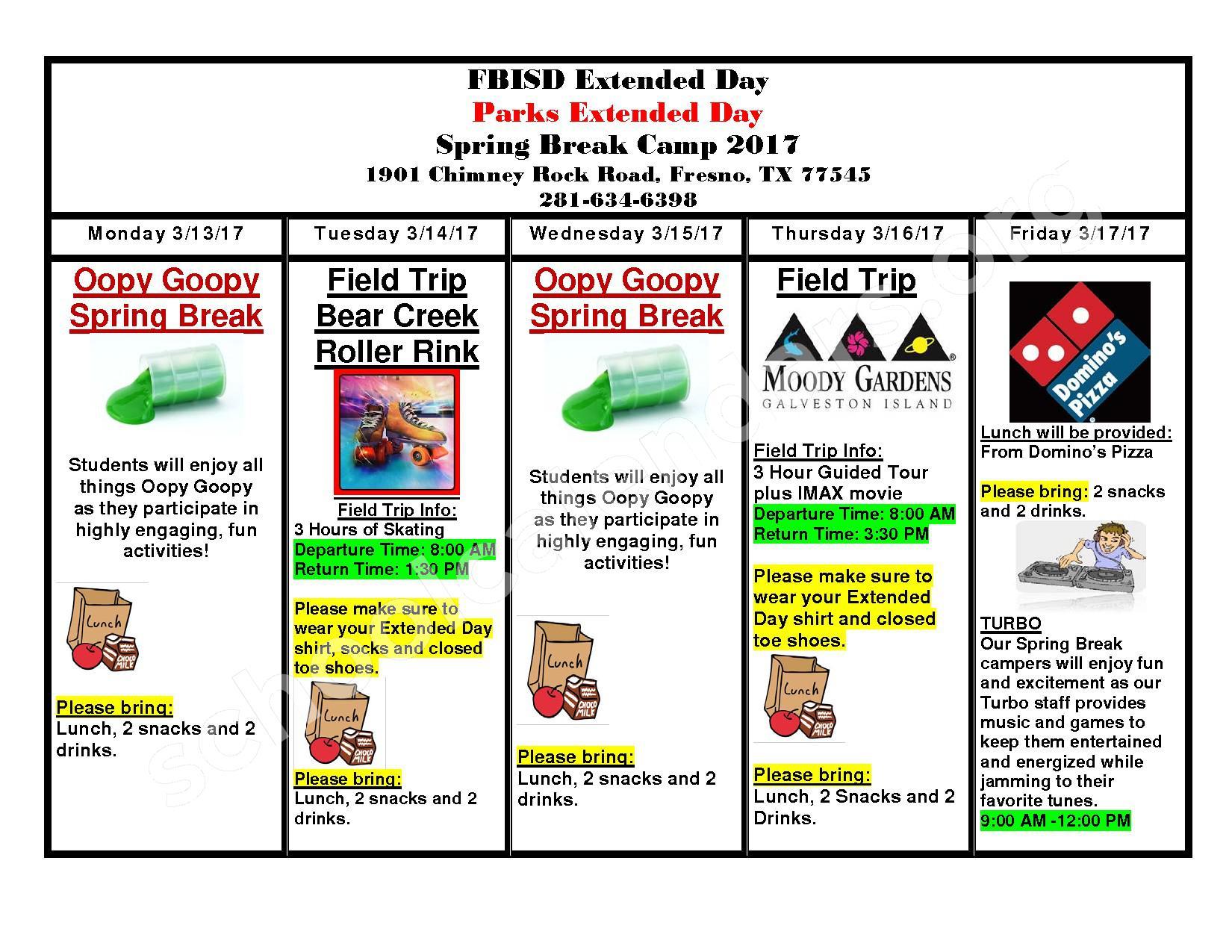 Rosa Parks Elementary School Calendars Fresno Tx