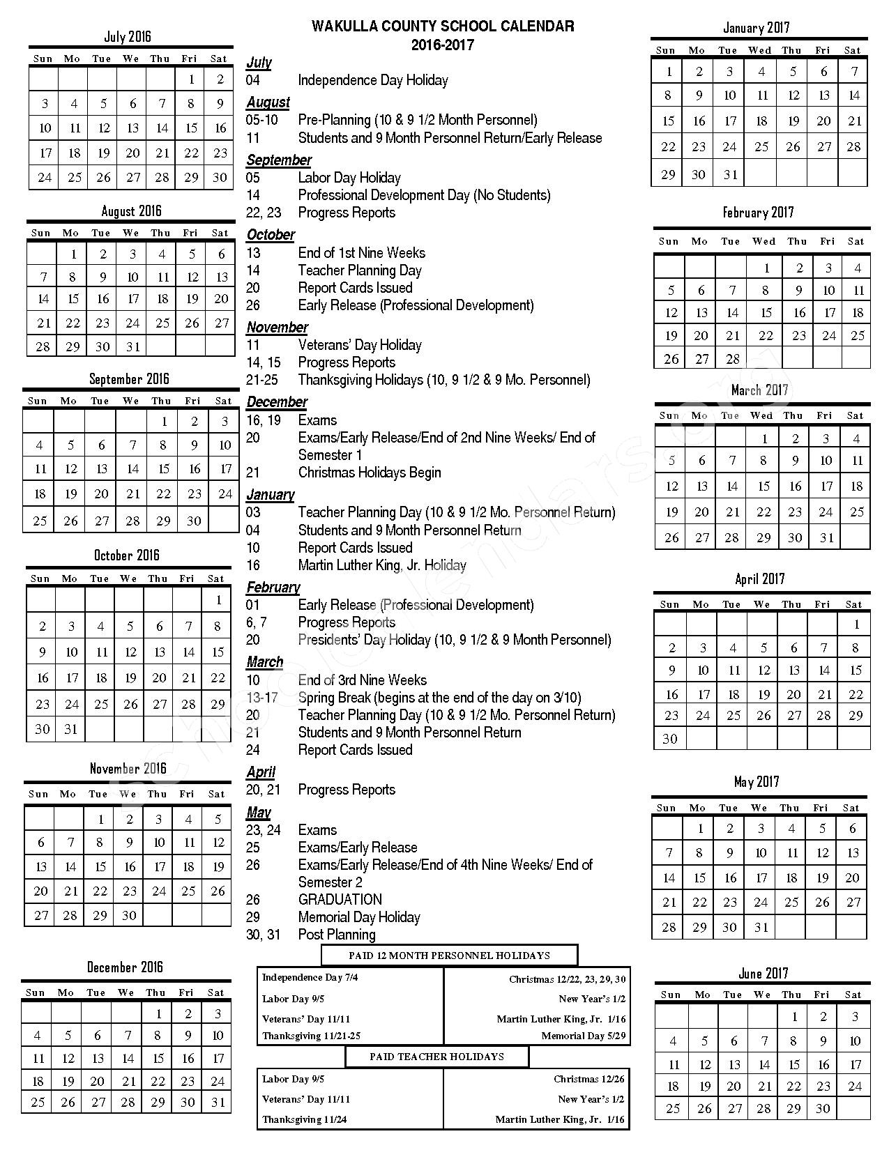 Crawfordville Elementary School Calendars