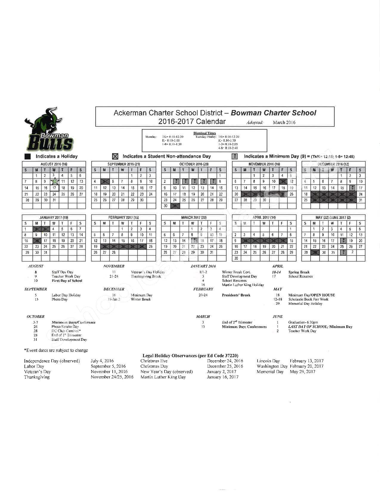 Placer County Office of Education Calendars