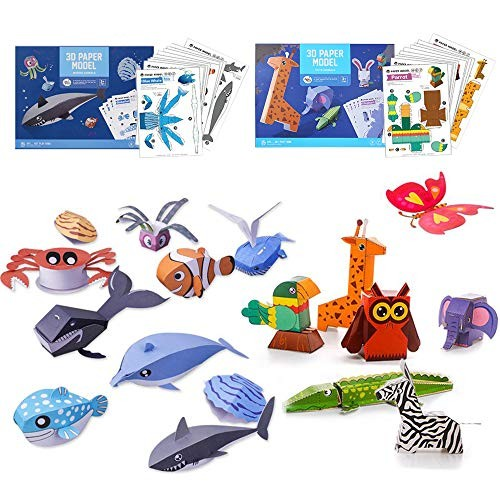 Traver Dream 3d Paper Art Craftdiy Kit 20 Packfoldable Craftstoddler Crafts Toyspaper Plate Craft Kitperfect For Parent Child Gameclassroom Wild And Sea Animal Set Educational Toys Planet