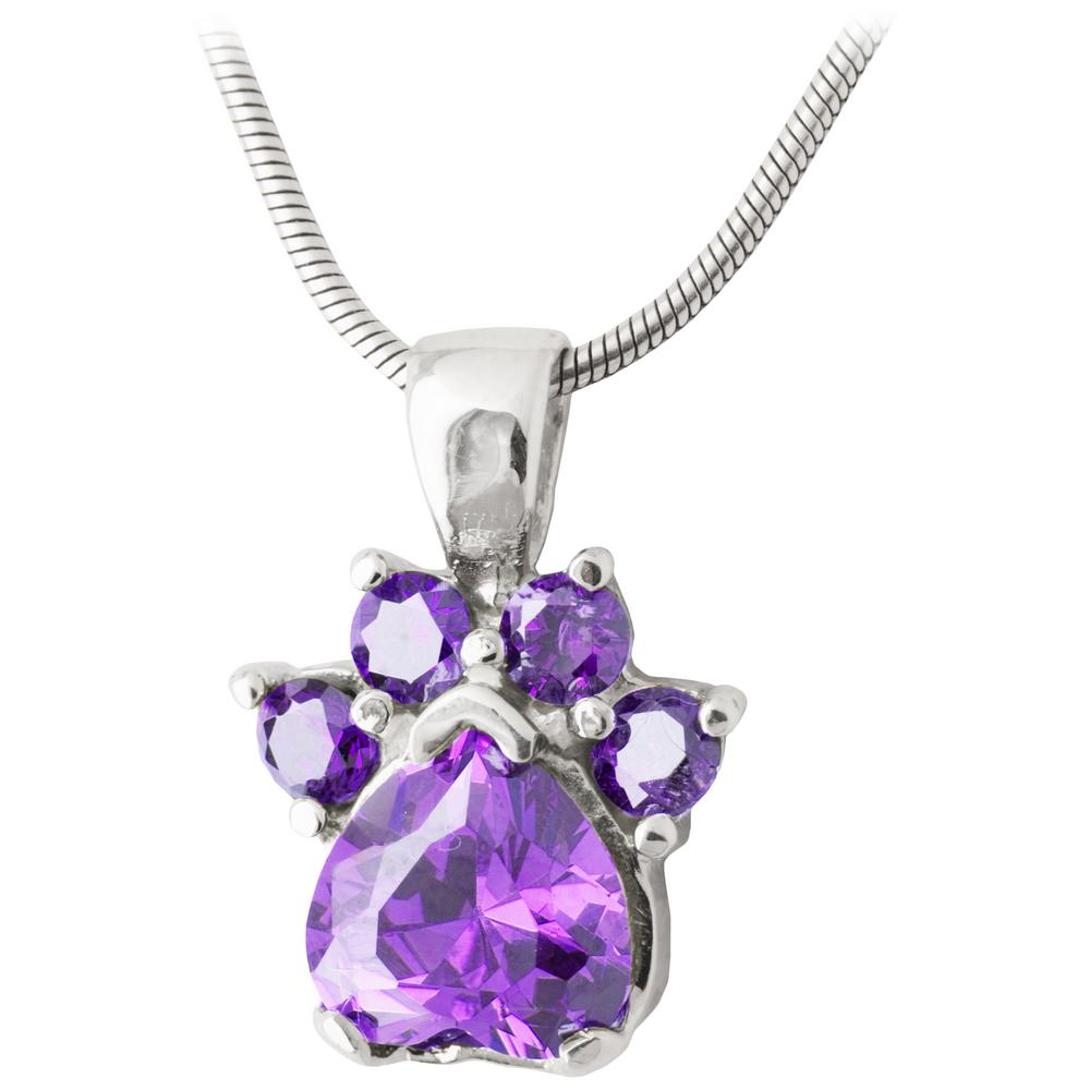 Paw Print Birthstone Sterling Necklace : The Animal Rescue