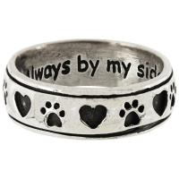 Always By My Side Paw Sterling Ring : The Animal Rescue Site