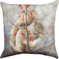 Winter Squirrel Throw Pillow : The Breast Cancer Site