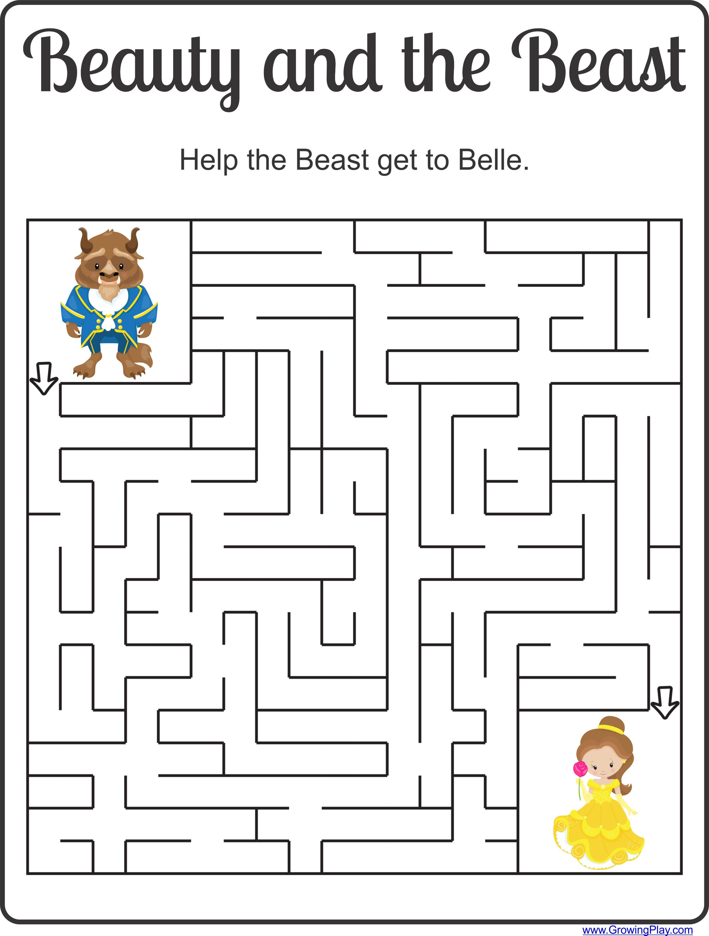 Beauty And The Beast Maze Freebie