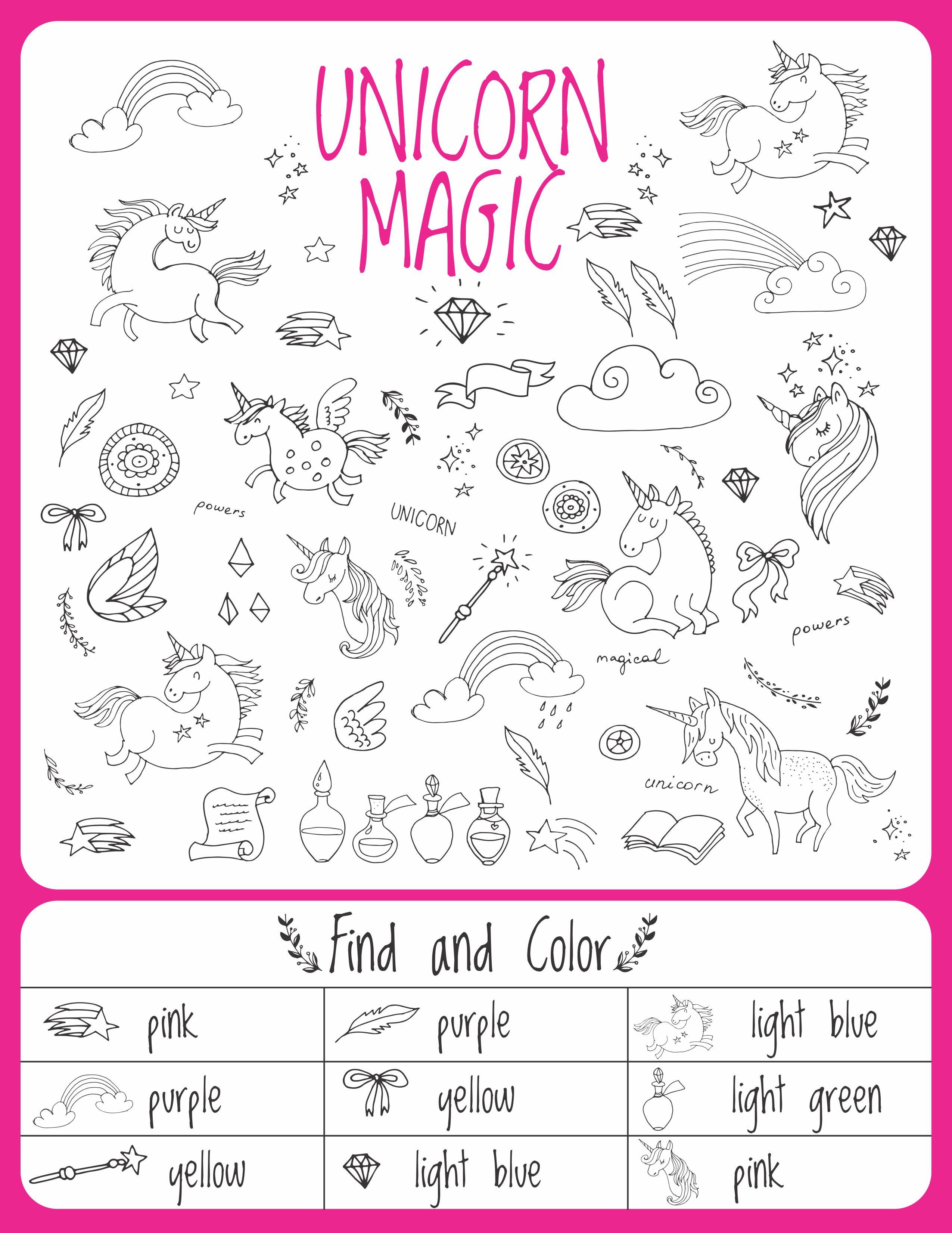 Unicorn Birthday Games Activities Puzzles