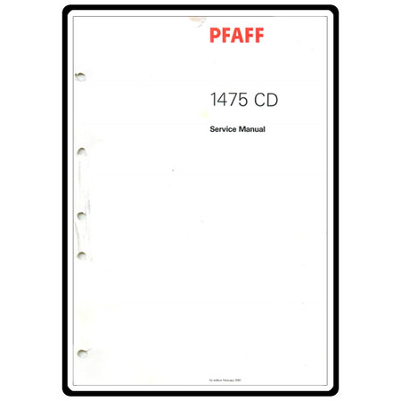 Service Manual, Pfaff 1475CD : Sewing Parts Online