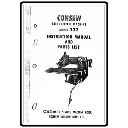 Instruction Manual, Consew Blindstitch 222 : Sewing Parts