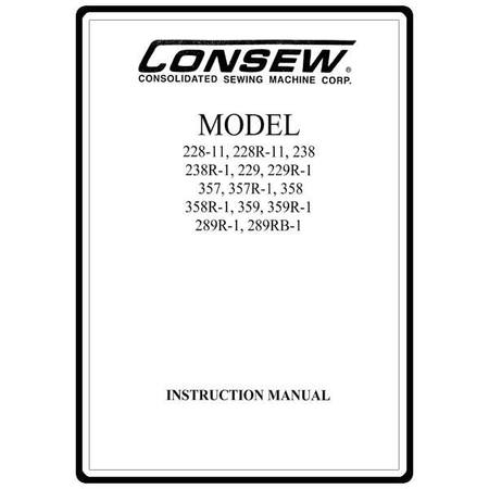 Instruction Manual, Consew 229R-1 : Sewing Parts Online